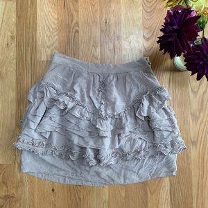 Anthropologie Leifsdottir Silk Tan Ruffle Skirt